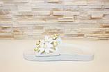 Шльопанці жіночі білі з квітами Б133 Уцінка, фото 2