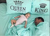 Постельное белье Евро Сатин Египетский Хлопок с принтом King and Queen Небесно голубой