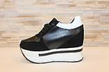 Сникерсы кроссовки женские черные с белыми вставками Т1024, фото 2