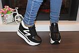 Сникерсы кроссовки женские черные с белыми вставками Т1024, фото 4