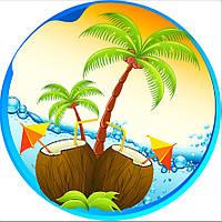 Пляжное полотенце / покрывало Towel Beach Holiday NEW круглое с бахрамой  150x150 см Пальмы и кокосы