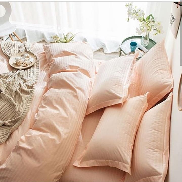 Нежно розовый Комплект Постельного Белья в Полоску Страйп-Сатин ЕВРО Простынь на Резинке