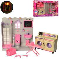 Кукольная мебель Ванная комната душевая кабина, умывальник, унитаз, стиральная машина, подсветка