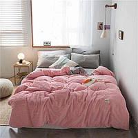 Плюшевое постельное белье микрофибра Homytex Евро размер Однотонное розовое полоска
