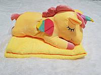 Игрушка подушка плед 3 в 1 Единорог желтый