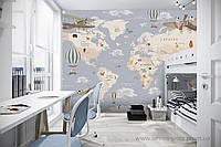 """Детские фотообои """"Карта мира с воздушнымм шарами и самолетами"""" на русском языке"""