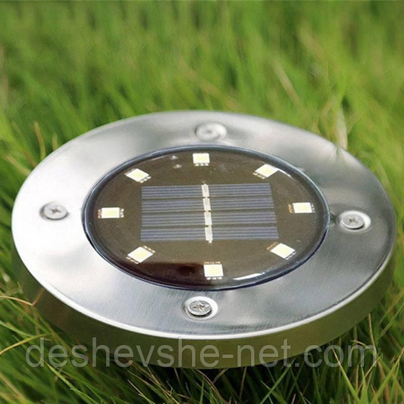 Вуличний наземний ліхтар - світильник на сонячній батареї 8 LED