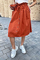 Юбка миди с поясом декорированная пуговицами LUREX - терракотовый цвет, L (есть размеры), фото 1