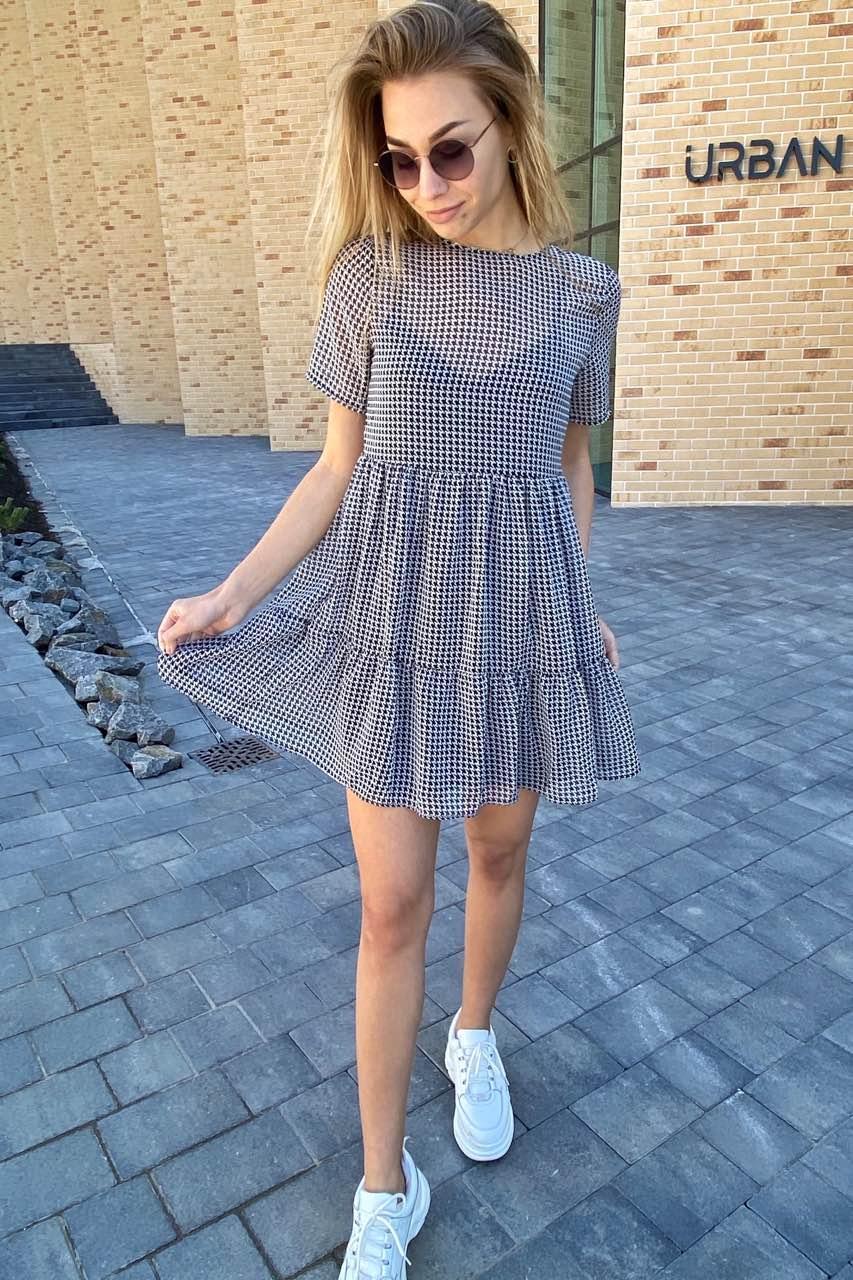 Оригинальное летнее платье двойка с принтом гусиная лапка   Clew - белый с черным цвет, S (есть размеры)