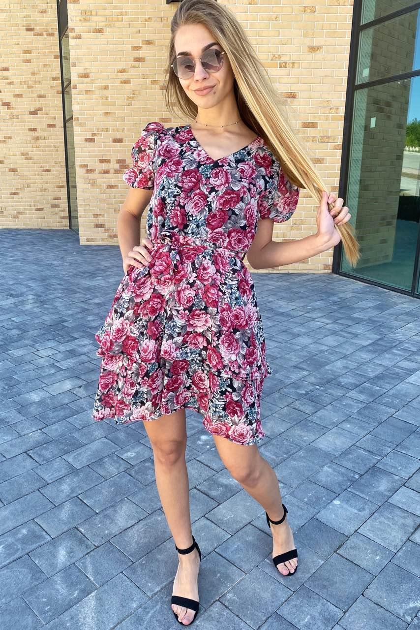 Платье на лето из шифона в цветочный принт  Pintore - розовый цвет, 42р (есть размеры)