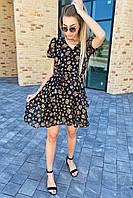 Платье на лето из шифона в цветочный принт  Pintore - черный цвет, 42р (есть размеры), фото 1