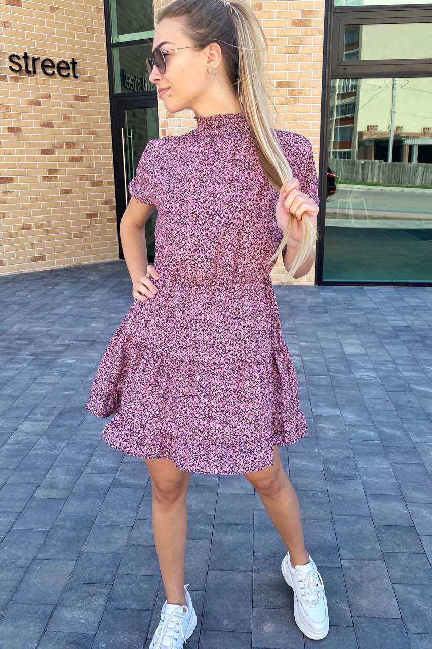 Стильное летнее платье over-size с флористическим рисунком  Clew - розовый цвет, L (есть размеры)