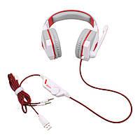 Наушники геймерские Kotion Each G4000 Бело-красный, с микрофоном и подсветкой