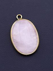Кулон Розовый кварц 30x18мм.