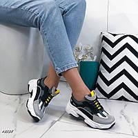 Женские кроссовки из эко-кожи и текстиля серо-чёрные, 36 размер