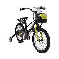 Испанский Детский Велосипед с корзинкой и боковыми колесами 16 дюймов SHADOW Магниевая рама  от 4 лет Черно-Зеленый