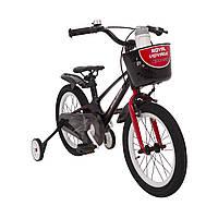 Испанский Детский Велосипед с корзинкой и боковыми колесами 16 дюймов SHADOW Магниевая рама  от 4 лет Черно-Красный
