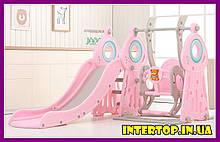 Дитячий пластиковий ігровий комплекс 2 в 1 гірка з кільцем + гойдалка Bambi WM19011-8 сіро-рожевий для будинку