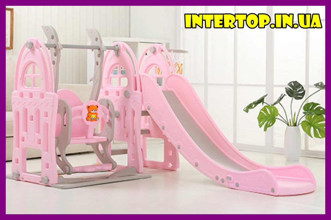 Детский пластиковый игровой комплекс 2 в 1 горка с кольцом + качель Bambi WM19017-8 серо-розовый для дома