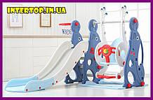 Дитячий пластиковий ігровий комплекс 2 в 1 гірка з кільцем + гойдалка Bambi WM19020 біло-блакитний для будинку