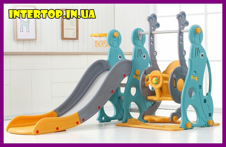 Детский пластиковый игровой комплекс 2 в 1 горка с кольцом + качель Bambi WM19020 серо-желтый для дома