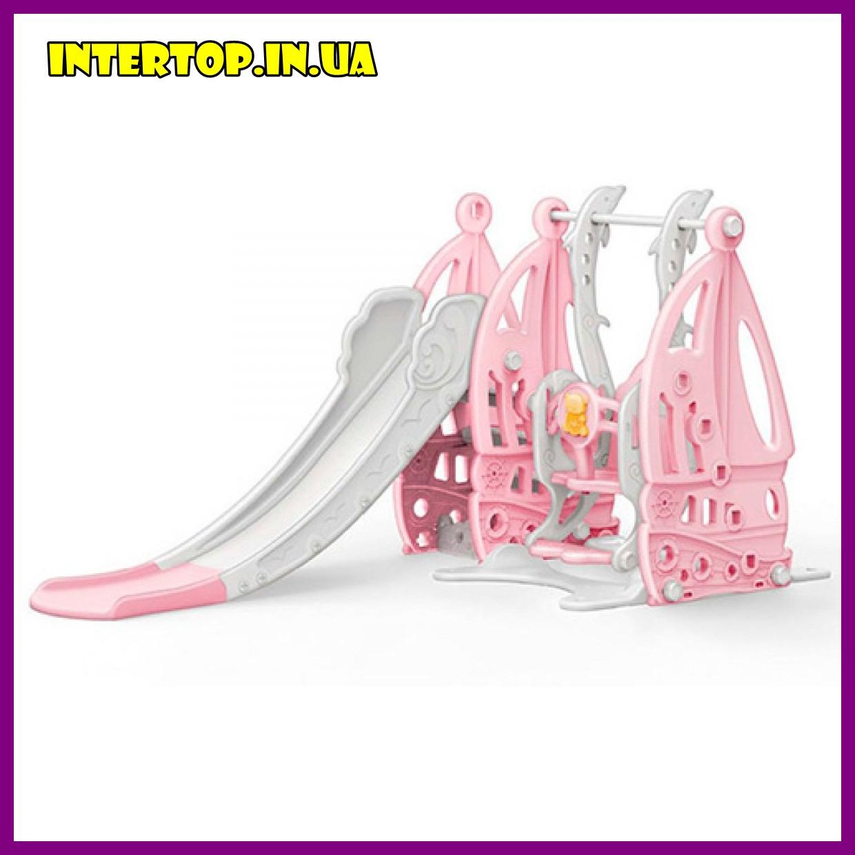 Детский пластиковый игровой комплекс 2 в 1 горка с кольцом + качель Bambi WM19016  серо-розовый для дома