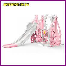 Дитячий пластиковий ігровий комплекс 2 в 1 гірка з кільцем + гойдалка Bambi WM19016 сіро-рожевий для будинку