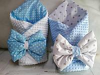 Набор Конверт для новорожденных на выписку из роддома Пупсик Плед плюшевый + бант ( подушечка)на резинке