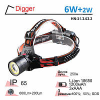Фонарик для рыбалки на лоб 6W+2W Li-ion 1200mAh Right Hausen Digger