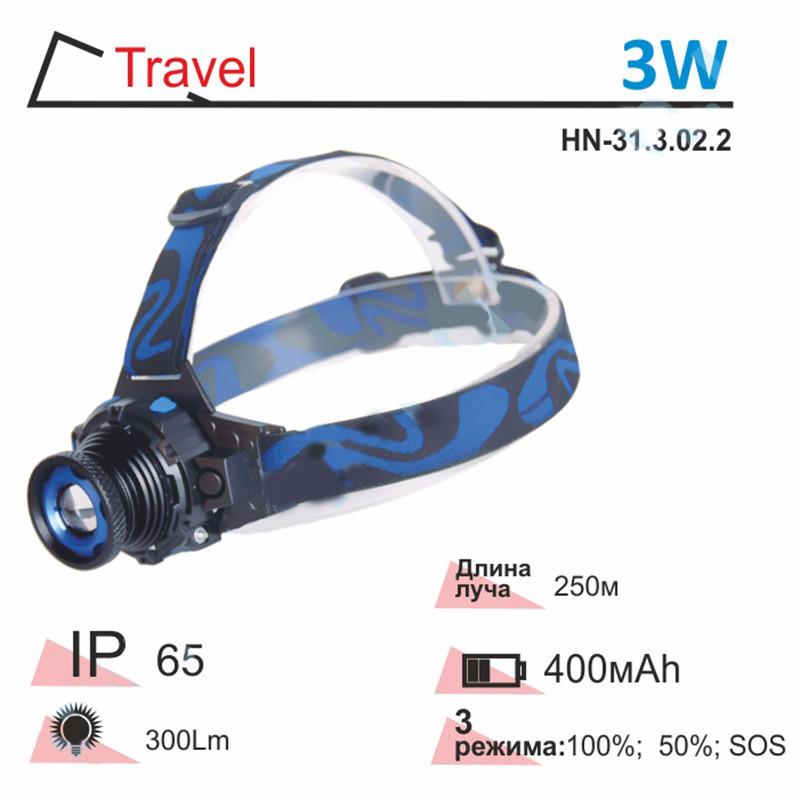 Ліхтарик для риболовлі на лоб 3W ZOOM 400mAh Right Hausen Digger