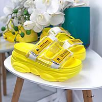 Женские летние шлепки жёлтые, фото 1