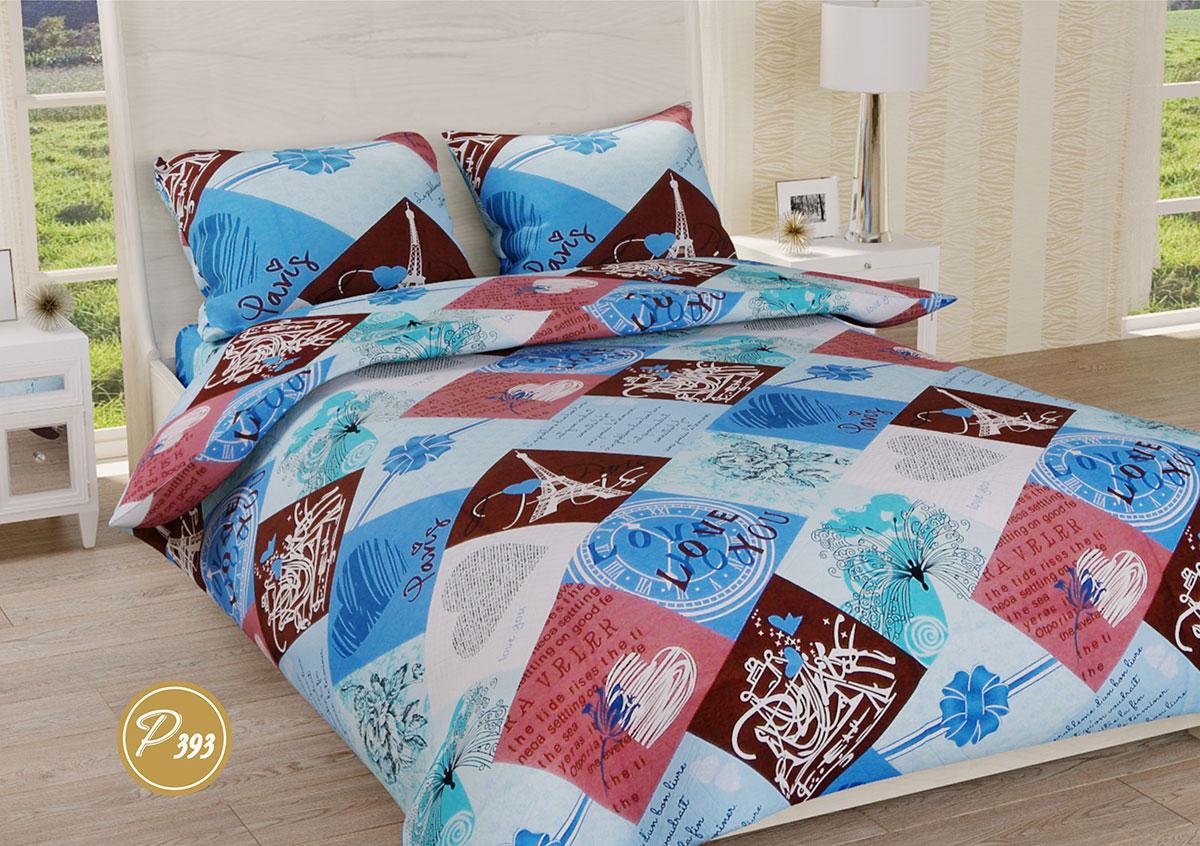 Постельное белье Ранфорс Органик Р 393 двуспальный Евро цветной