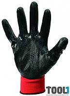 Перчатки трикотажные бесшовные с нитриловым покрытием ладони (красно-черные) MASTERTOOL 83-0401