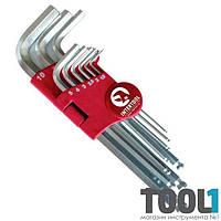 Набор Г-образных шестигранных ключей с шарообразным наконечником, 9 ед.,1,5-10 мм, Cr-V, 55 HRC Big INTERTOOL HT-0603