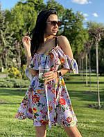 Женский сарафан из софта с цветочным принтом, фото 1