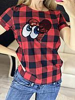 Женская блуза-футболка в клетку