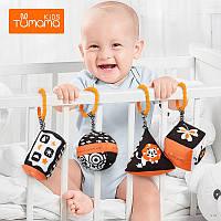 Детские подвески погремушки Tumama Kids Черно-Белые Плюшевые Набор 4 шт