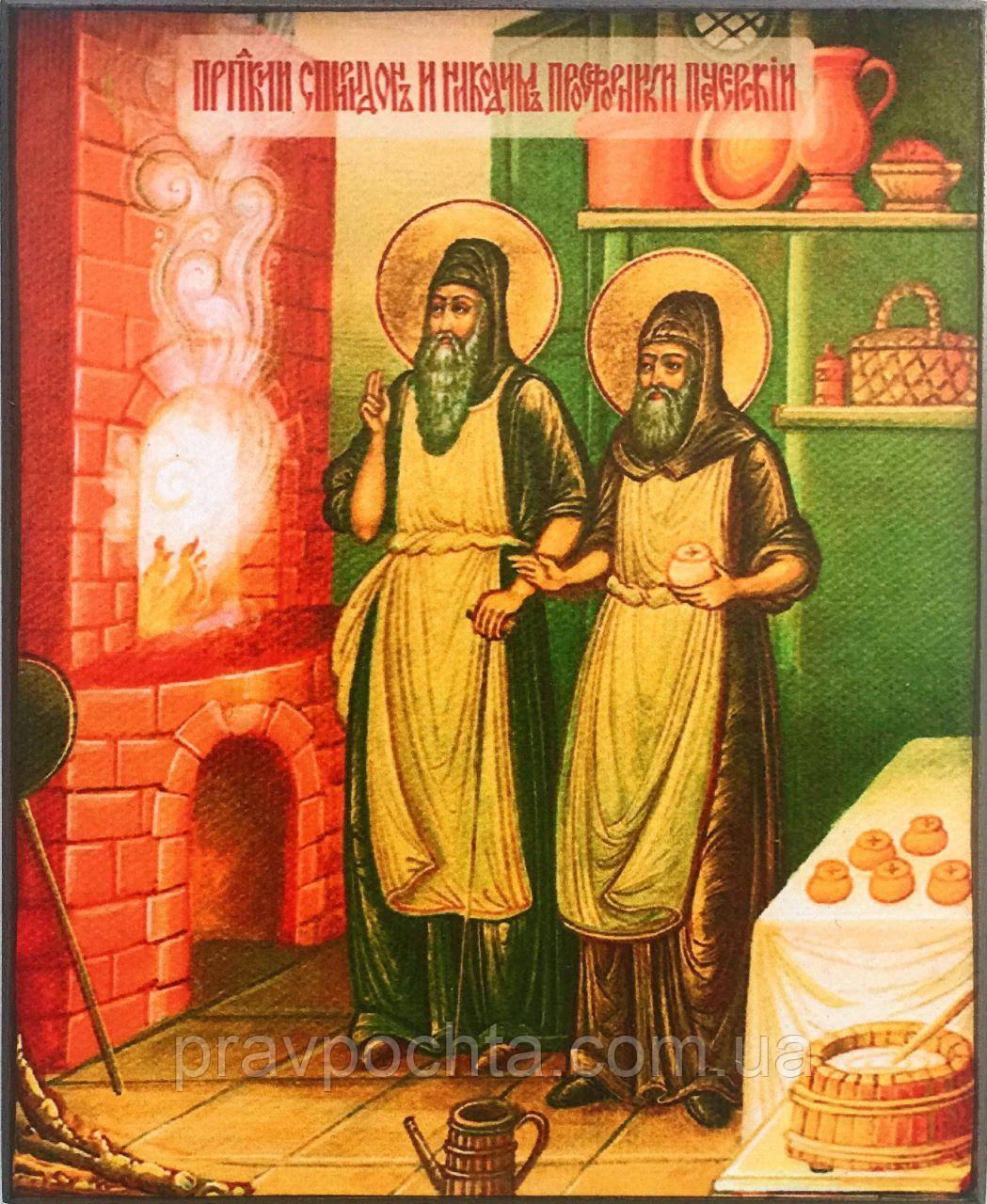 Икона Преподобные Спиридон и Никодим Просфорники Печерские (малая)