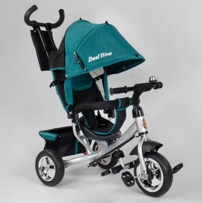 Детский трехколесный велосипед с ручкой козырьком колеса пена Best Trike 6588-16-481