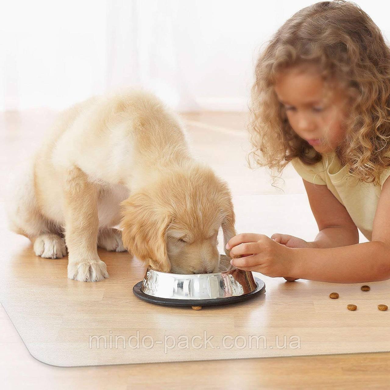 Коврик под миску для кошек и собак. Не скользит. Прозрачный.