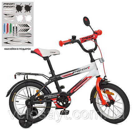 Велосипед детский PROF1 14 Д.  SY1455 черно-красный, фото 2