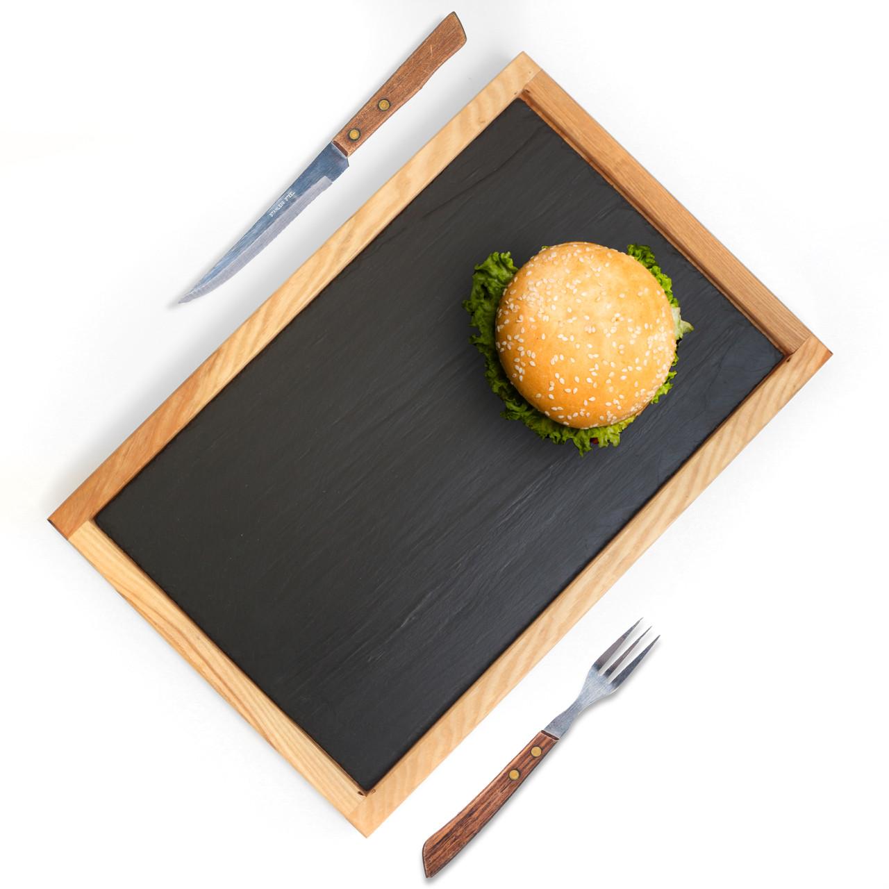 Доска со сланцевым блюдом Дуб Lasco Сланец - 40х25см