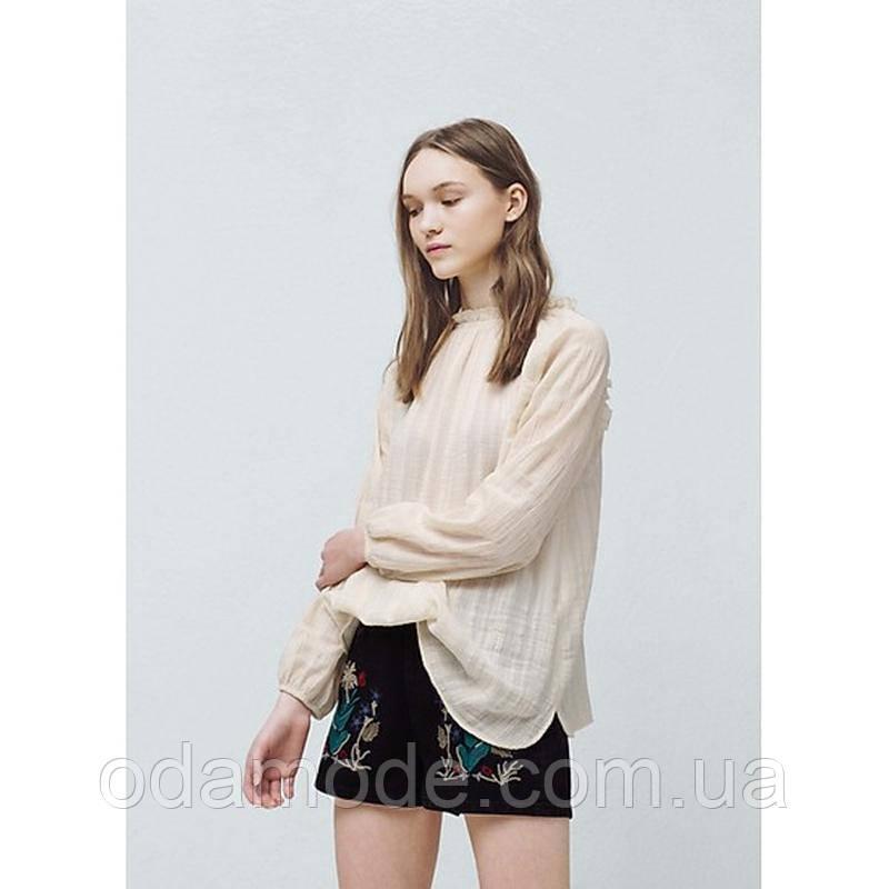 Женская блуза бежевая хлопковаяMango