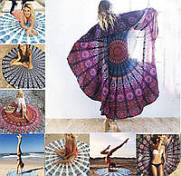 Пляжный яркий круглый коврик/покрывало