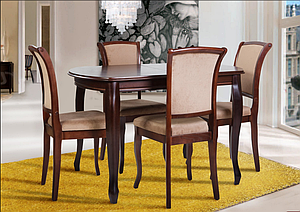 Кухонный комплект -Турин. Стол раздвижной, 4 стула. Цвет - орех.,т.орех