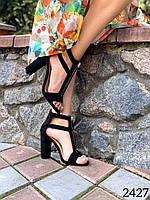 Женские черные босоножки на каблуке 36 размер стелька 23.5 см