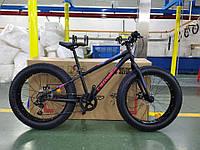 """Велосипед горный Crosser Fat Bike 24"""", рама 13"""", черный"""