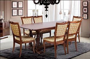 Кухонный комплект -Палермо. Стол раздвижной, 6 стульев. Цвет - орех.,т.орех