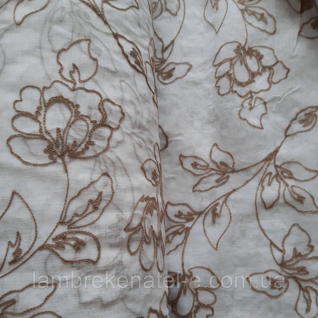 Тюль белый лен с бежевой вышивкой