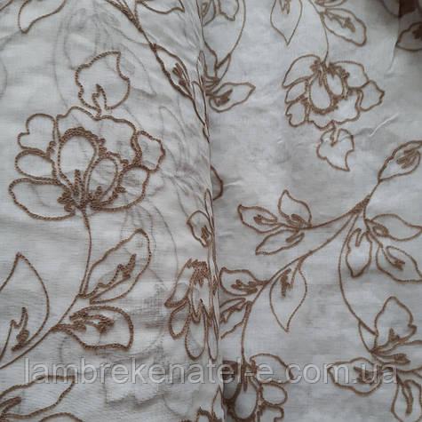 Тюль лен в зал, в спальню , цвет белый с бежевой вышивкой